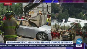 Rescatan Personas Atrapadas Auto Simulacro 19-S