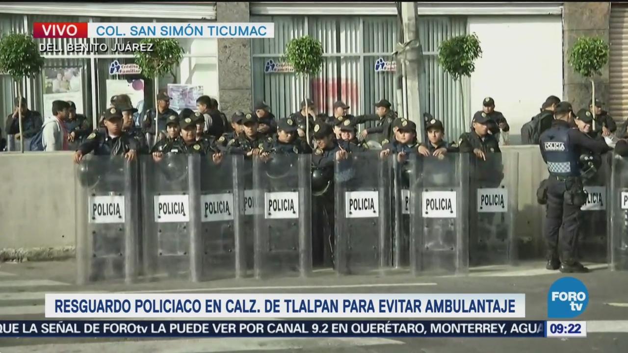Resguardo policiaco para evitar ambulantaje en Tlalpan
