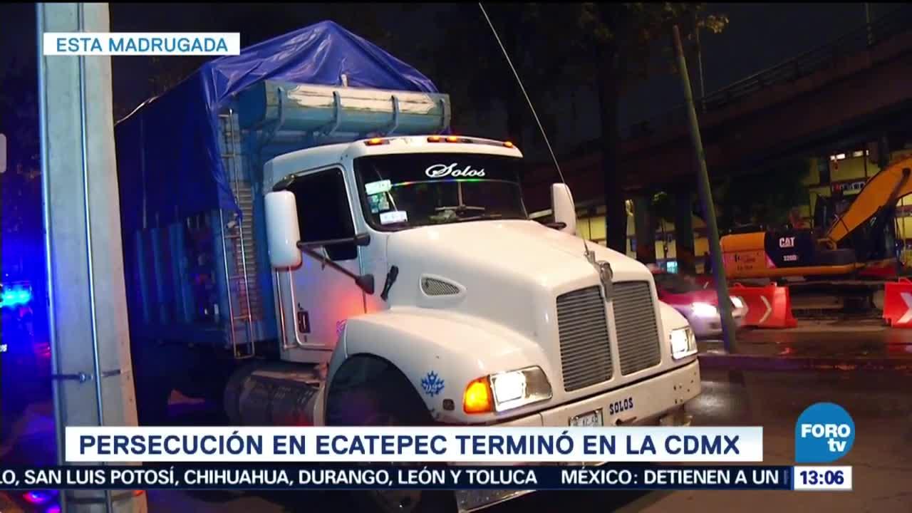 Se registra persecución policíaca por camión de Ecatepec