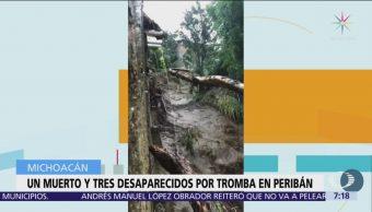 Tromba deja un muerto en Peribán, Michoacán