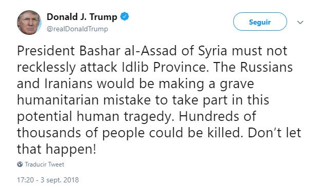 Tuit de Trump sobre Siria. (@realDonaldTrump)