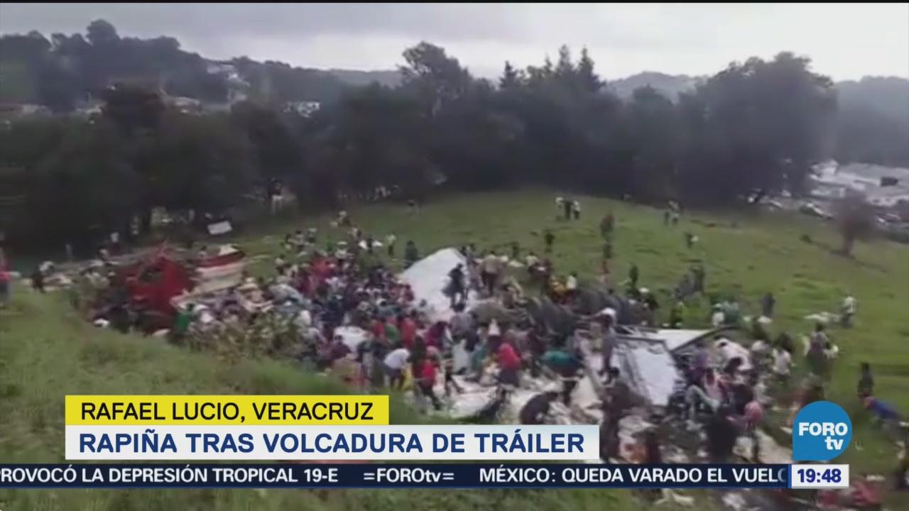 Saquean Tráiler Volcó Veracruz Accidente Rapiña