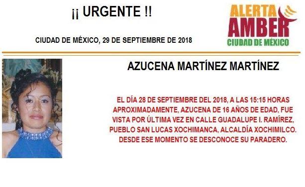 Activan Alerta Amber para localizar a menor en Xochimilco