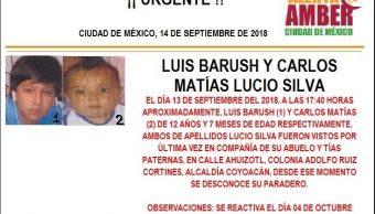 Alerta Ámber CDMX: Buscan a Luis Barush y Carlos Matías