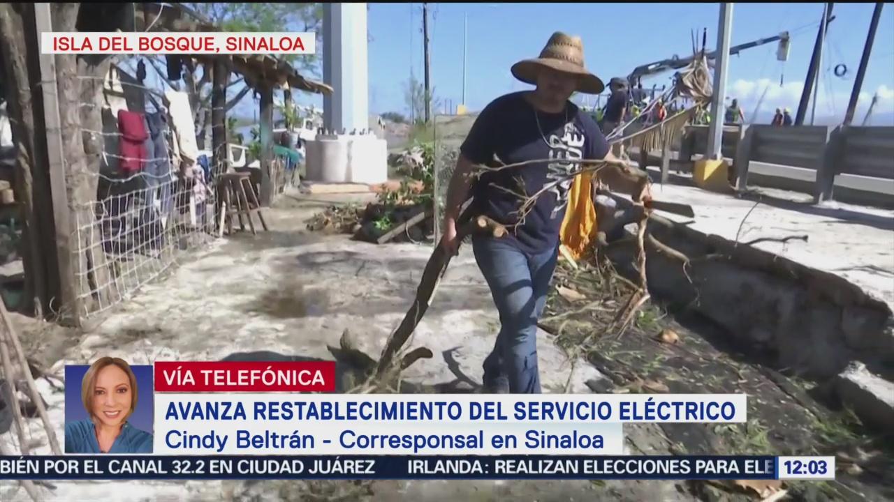 Avanza restablecimiento de servicio eléctrico en municipios de Sinaloa