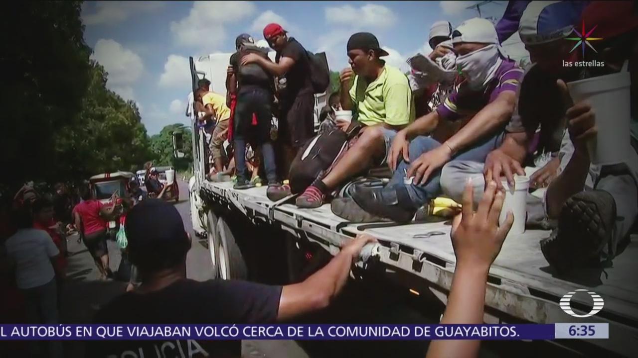 Caravana de migrantes llega a Mapastepec, Chiapas