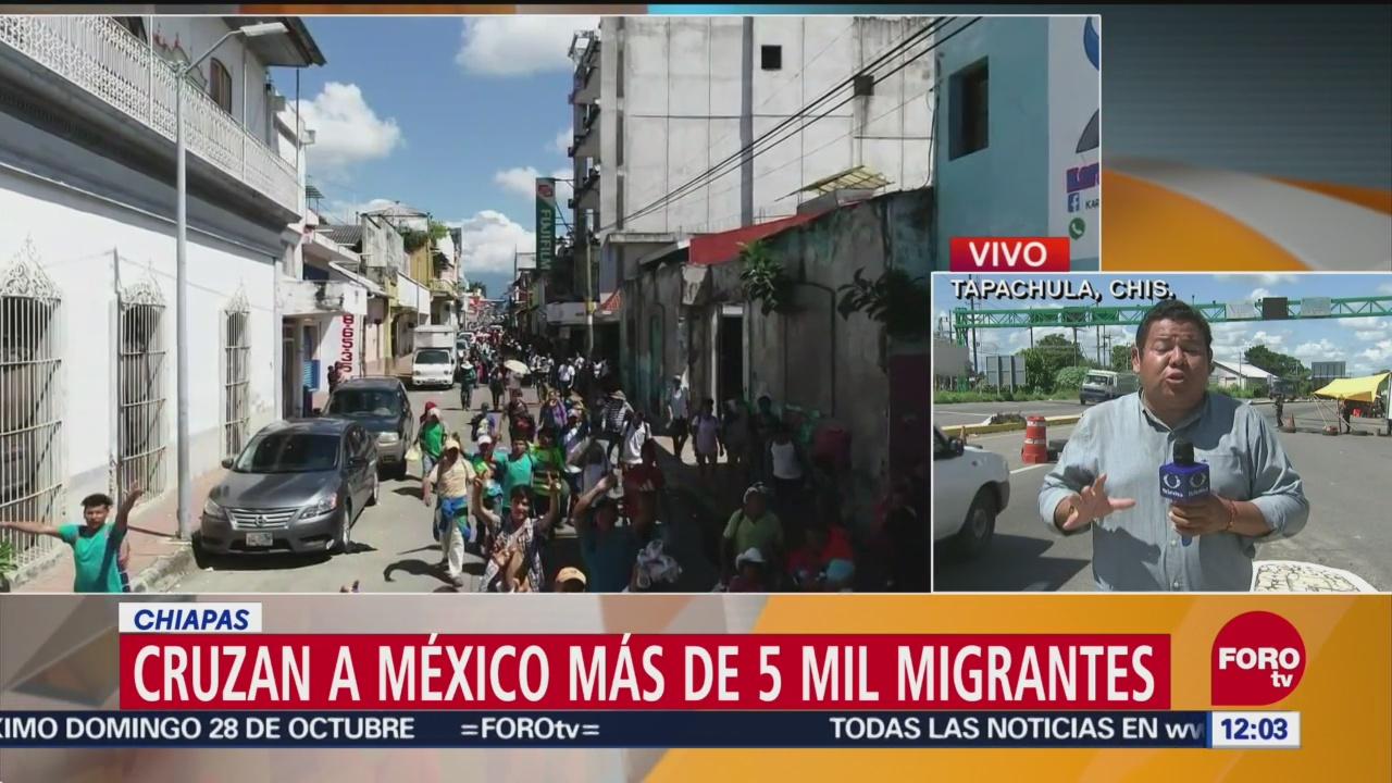 Caravana migrante se dirige a Huixtla, Chiapas