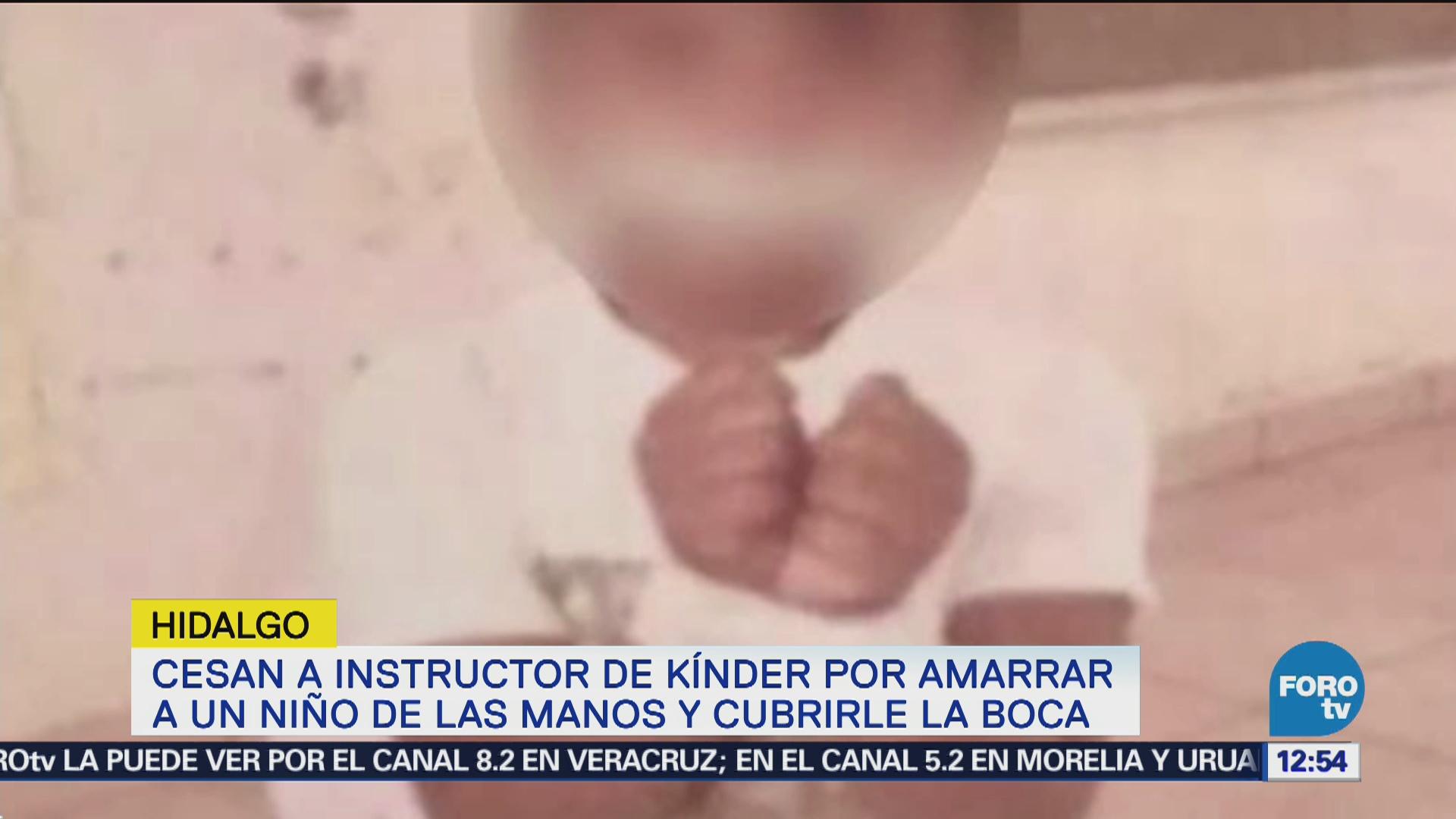 Destituyen a instructor que amarró a niño de kinder Hidalgo