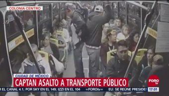 Graban en video asalto a transporte público