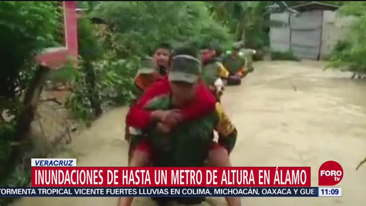 Inundaciones de hasta un metro de altura en Álamo, Veracruz