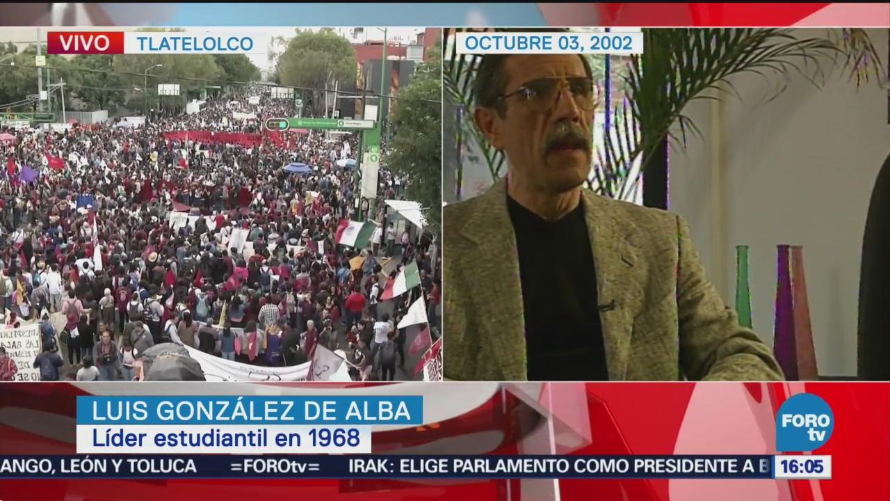 Luis González de Alba conversa, en 2002, sobre el 2 de octubre