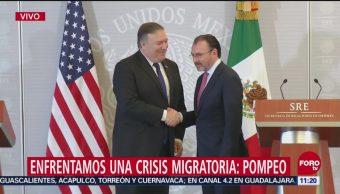 Luis Videgaray y Mike Pompeo ofrecen mensaje conjunto