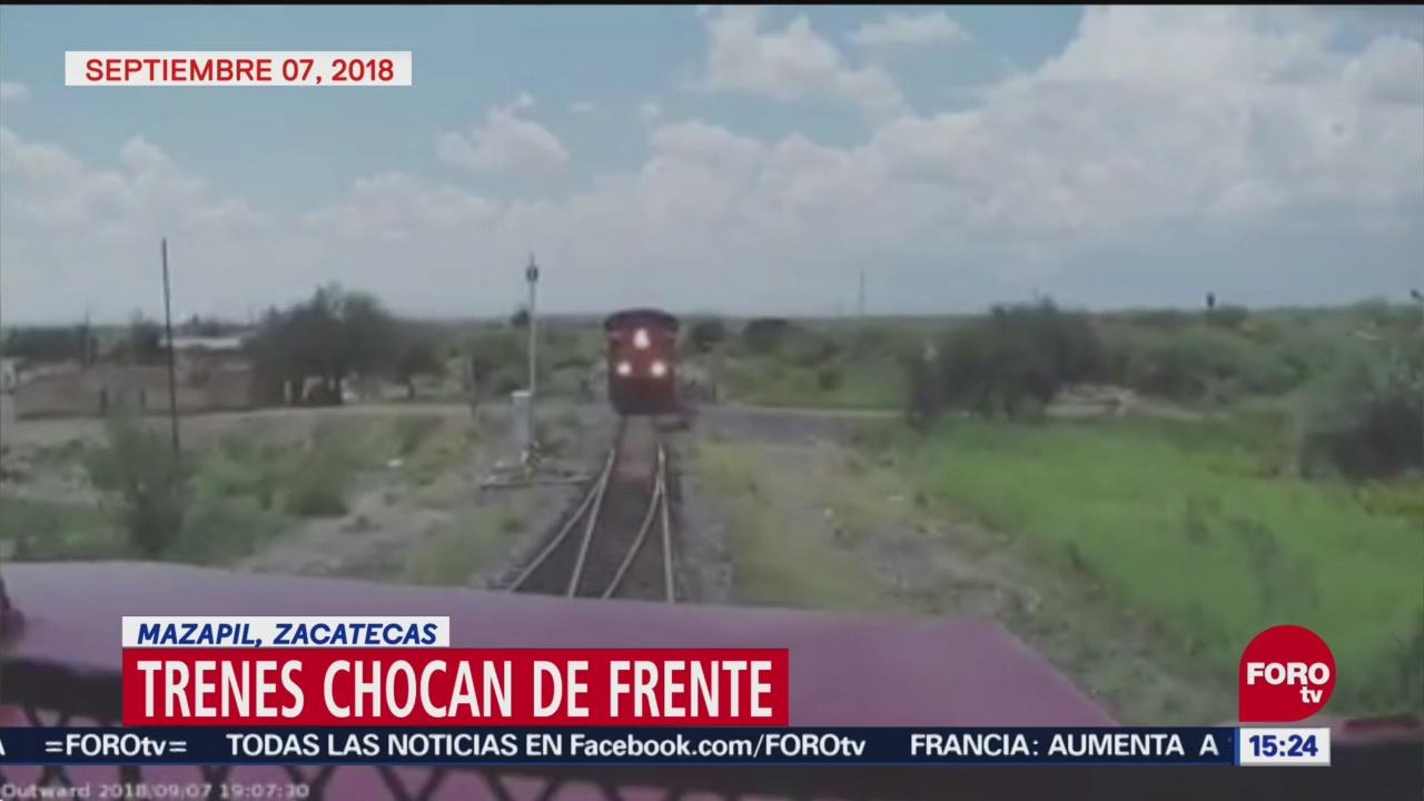 Captan momento de choque de dos trenes en Zacatecas