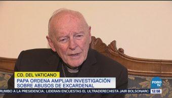 Papa Francisco Ordena Ampliar Investigación Abusos Sexuales Mccarrick arzobispo emérito de Washington Theodore McCarrick