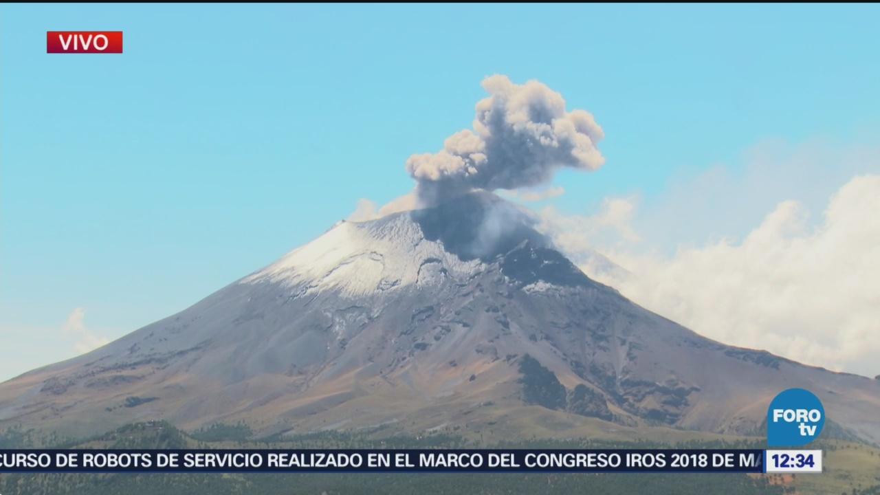 Popocatépetl emite dos exhalaciones de mediana intensidad