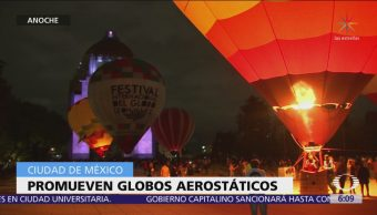 Promueven globos aerostáticos en el Monumento a la Revolución