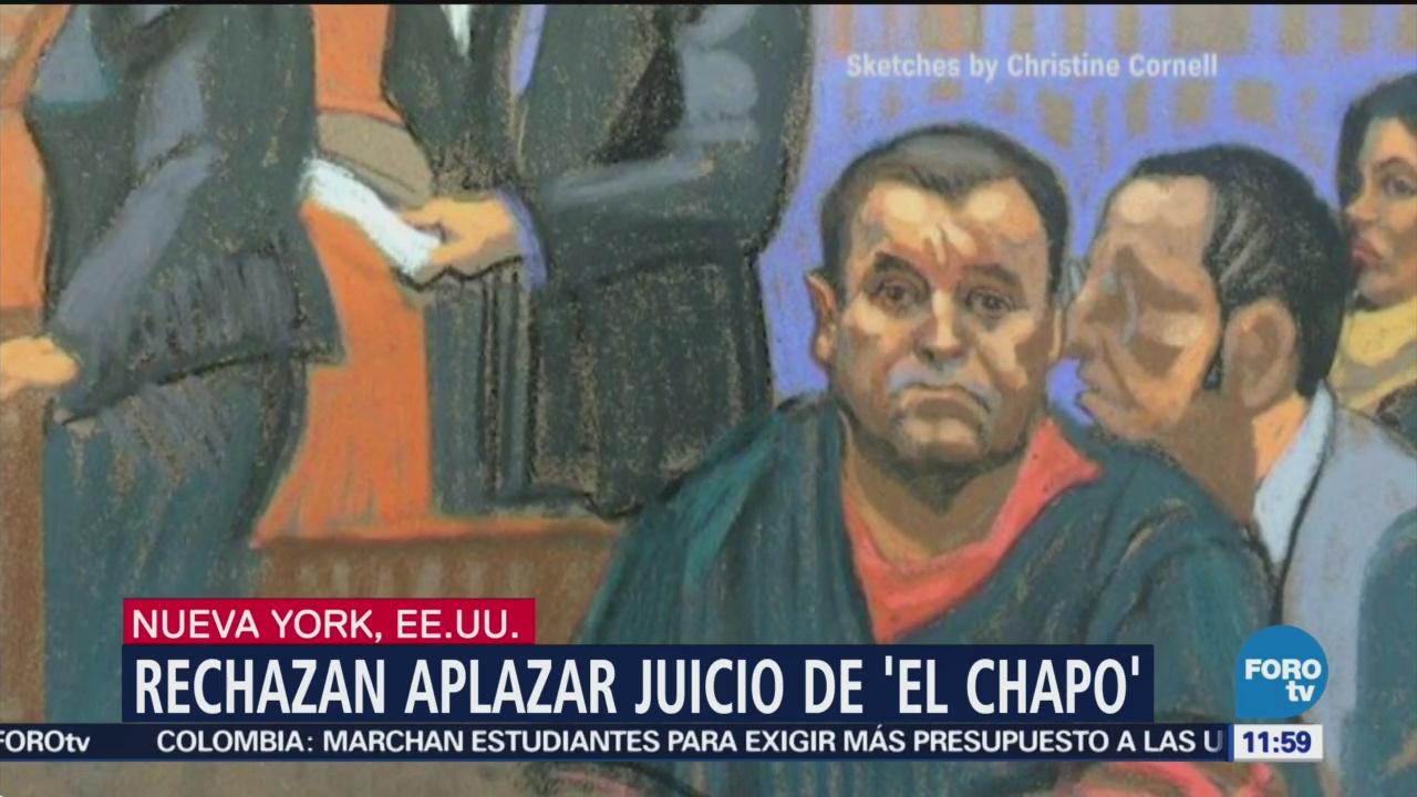 Rechazan petición de aplazar comienzo del juicio del Chapo