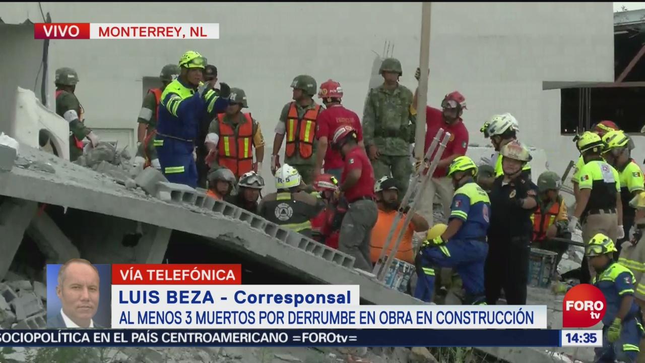 Rescatan a hombre de derrumbe en Monterrey