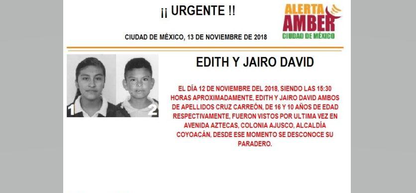 Alerta Amber para localizar a Edith y Jairo David Cruz