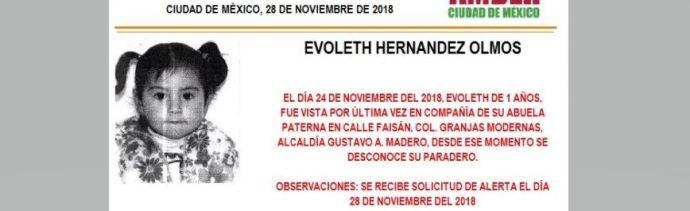Alerta Amber para localizar a Evoleth Hernández