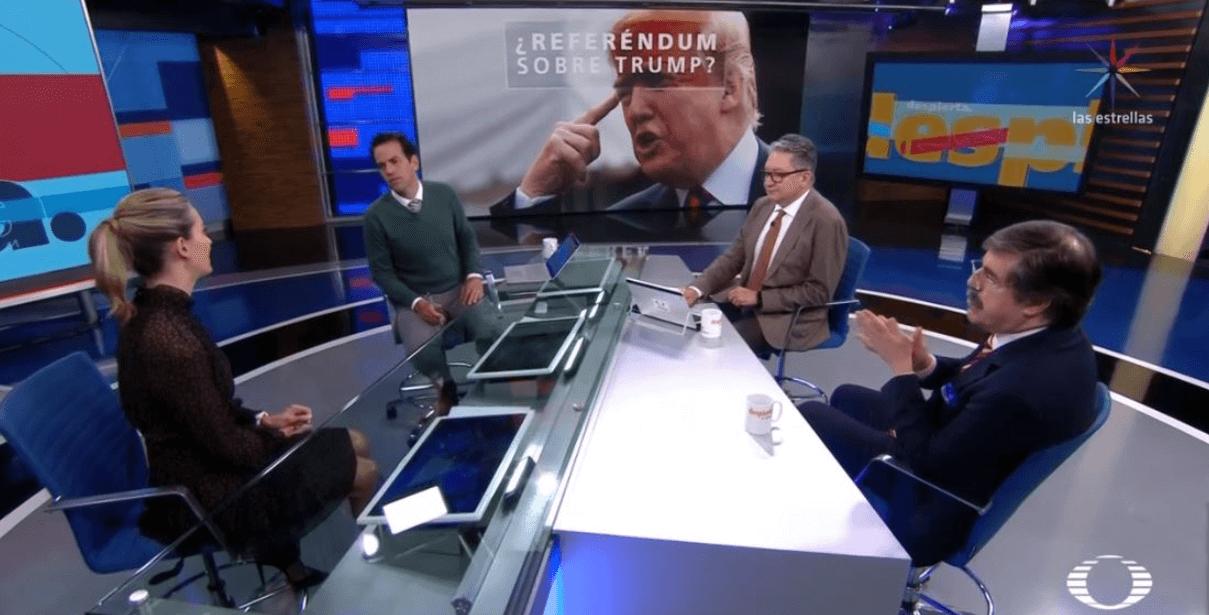 Ana Paula Ordorica, Carlos Loret, Enrique Campos y Gabriel Guerra en la mesa de Despierta. (Noticieros Televisa)