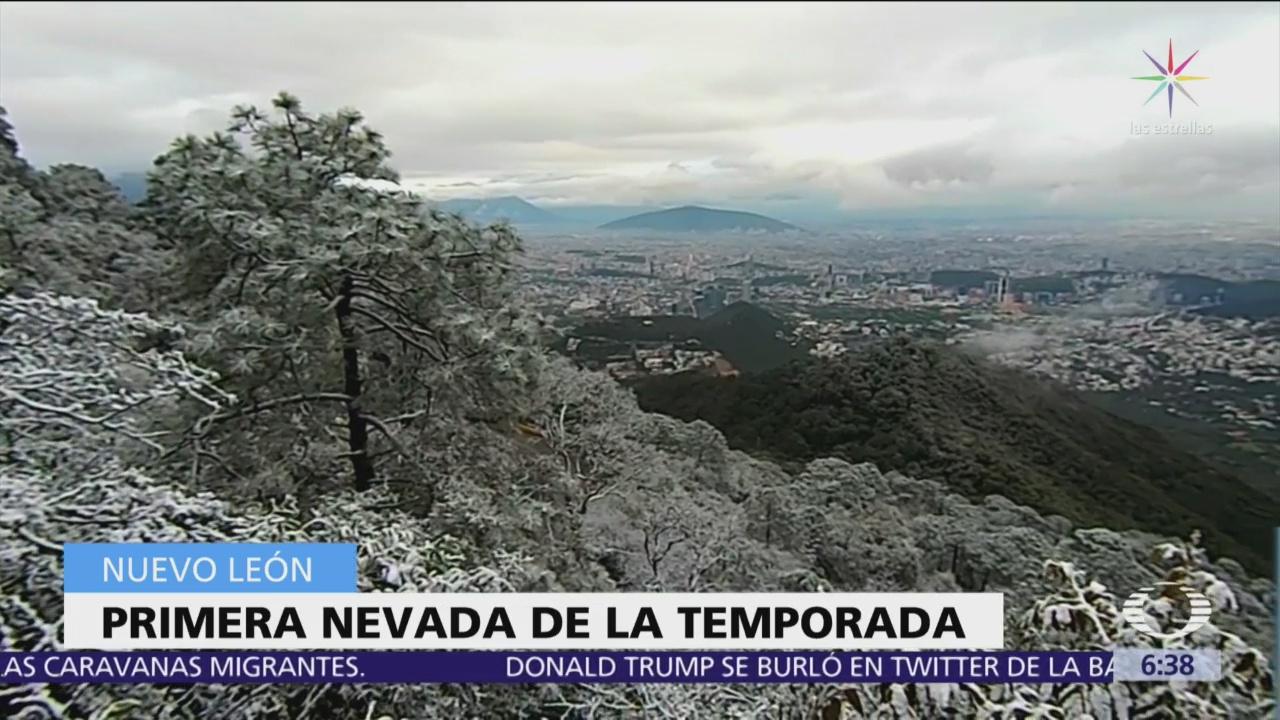 Cae la primera nevada de la temporada en Nuevo León