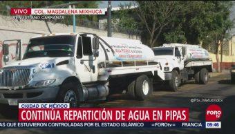 Continúa la repartición de agua en la alcaldía Venustiano Carranza