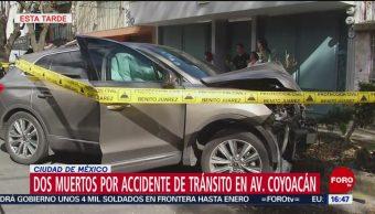 Dos muertos por accidente de tránsito en av. Coyoacán