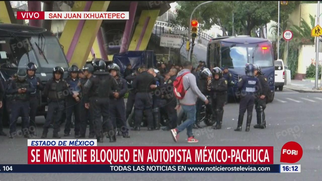 Elementos de la SSP-CDMX se alistan para intervenir en bloqueo en San Juanico