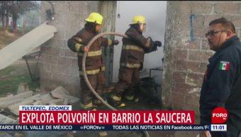 Explota polvorín en barrio La Saucera, Tultepec, Edomex