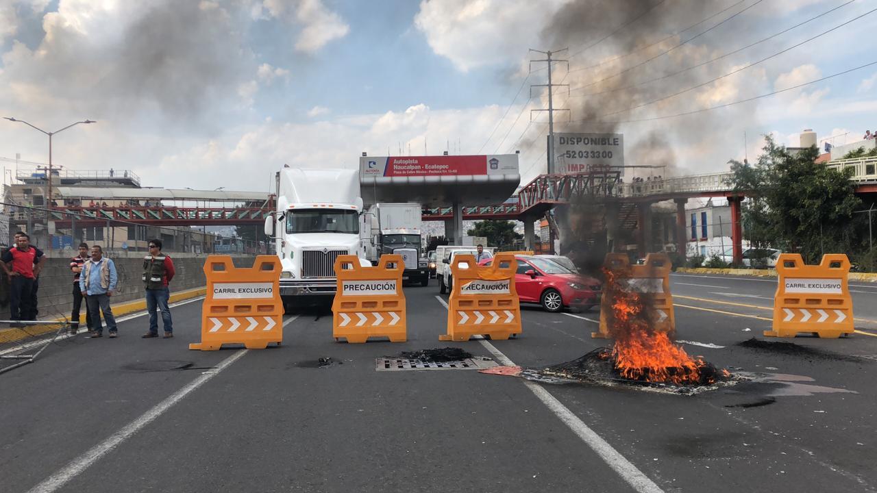 Impiden actos vandálicos en bloqueo de la autopista México Pachuca