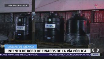Intentan robar tinacos en la vía pública de la CDMX