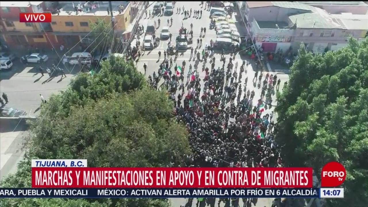 Marchas en apoyo y en contra de migrantes en Tijuana