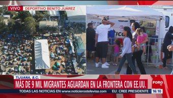 Más de 9 mil migrantes permanecen en frontera de México y EU