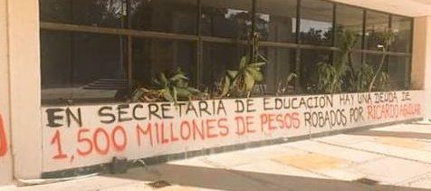 Maestros de la CNTE en Chiapas protestan por falta de pago