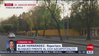 Retiran bloqueo frente a CCH Azcapotzalco