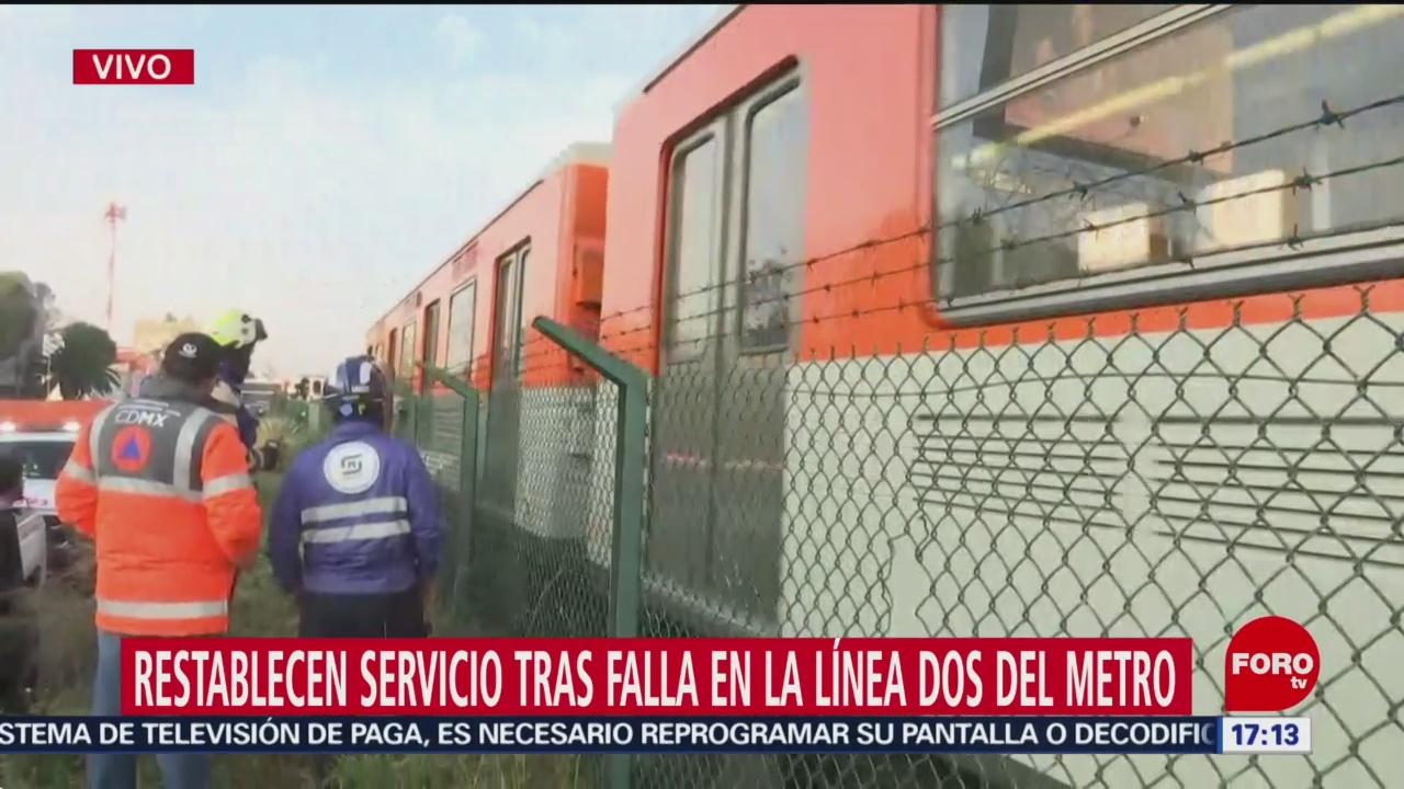 Se restablece servicio de la Línea 2 del Metro