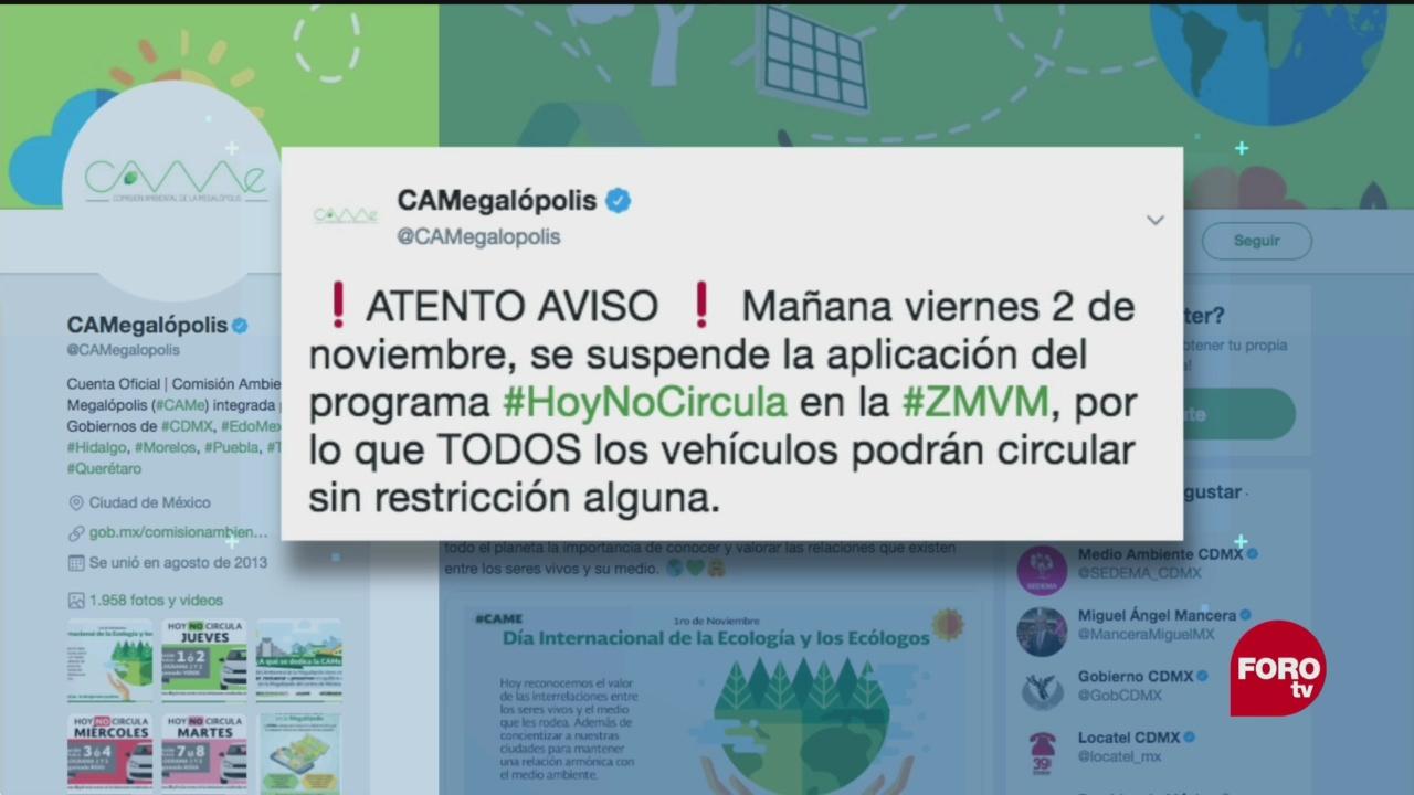 Suspenden Programa Hoy No Circula CDMX
