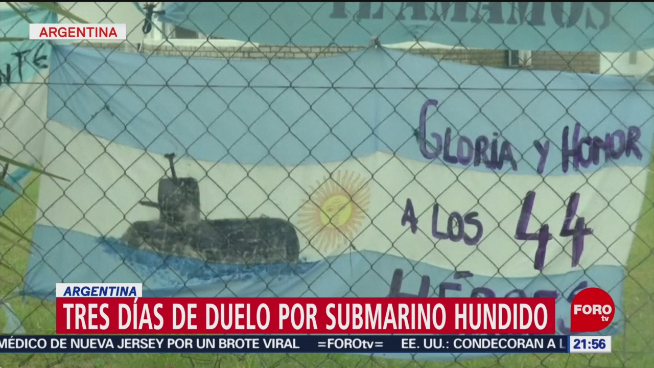 Tres días de duelo por submarino hundido en Argentina