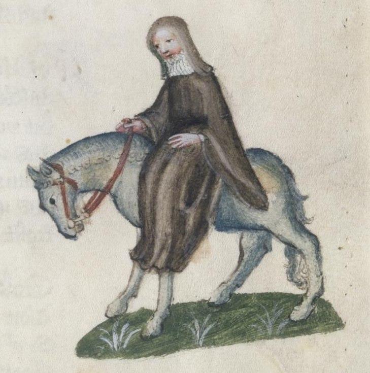 Una imagen de la 'segunda monja' como aparece en el texto 'Historias de Canterbury', de Geoffrey Chaucer (Wikimedia Commons)