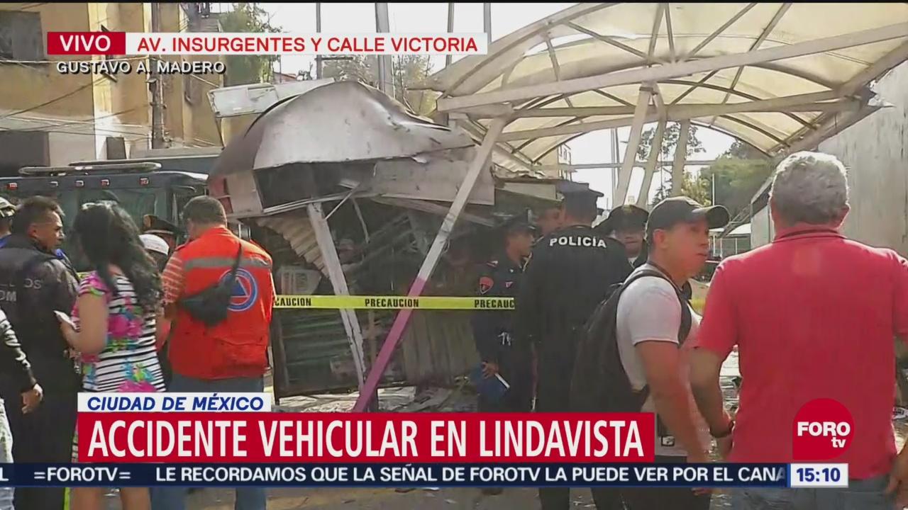 Accidente vehicular en Lindavista, CDMX