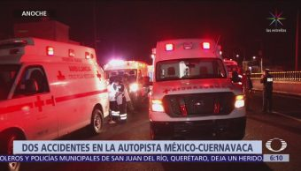 Accidentes carreteros en la México-Cuernavaca dejan 12 peregrinos lesionados