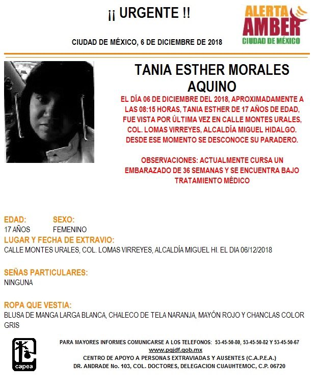 Alerta Amber para localizar a Tania Esther Morales