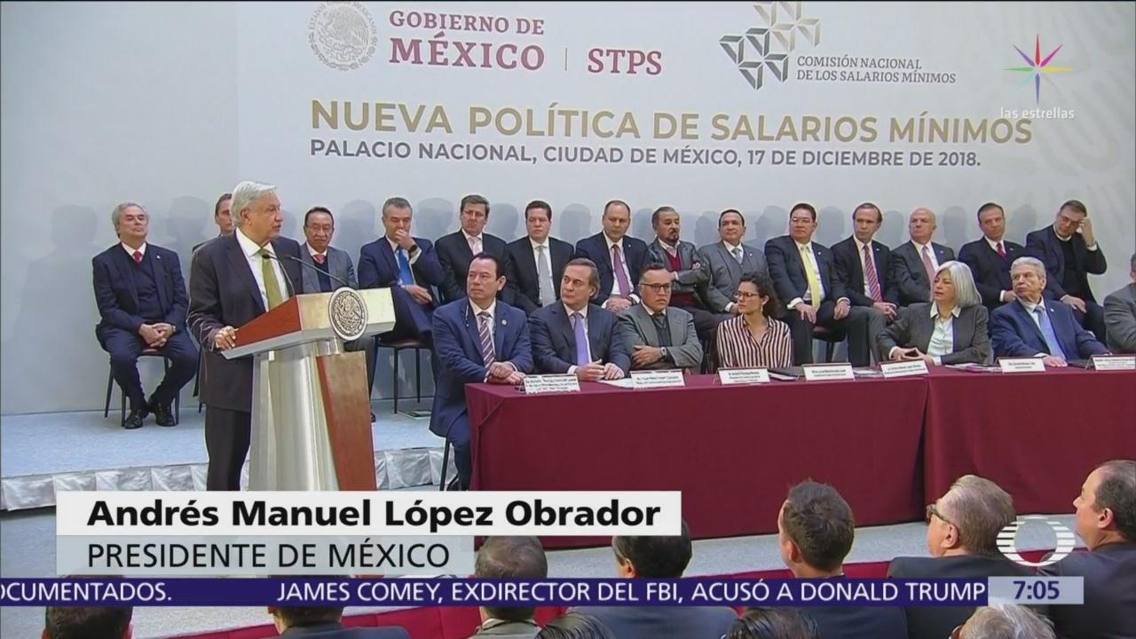 AMLO anuncia aumento al salario mínimo en México