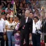 Amlo participa en ceremonia de entrega del Bastón de Mando en el Zócalo