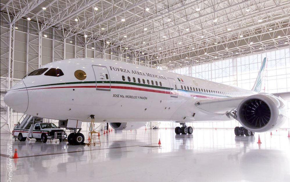 Fotografía del avión presidencial 'José María Morelos y Pavón'. 12 junio 2019