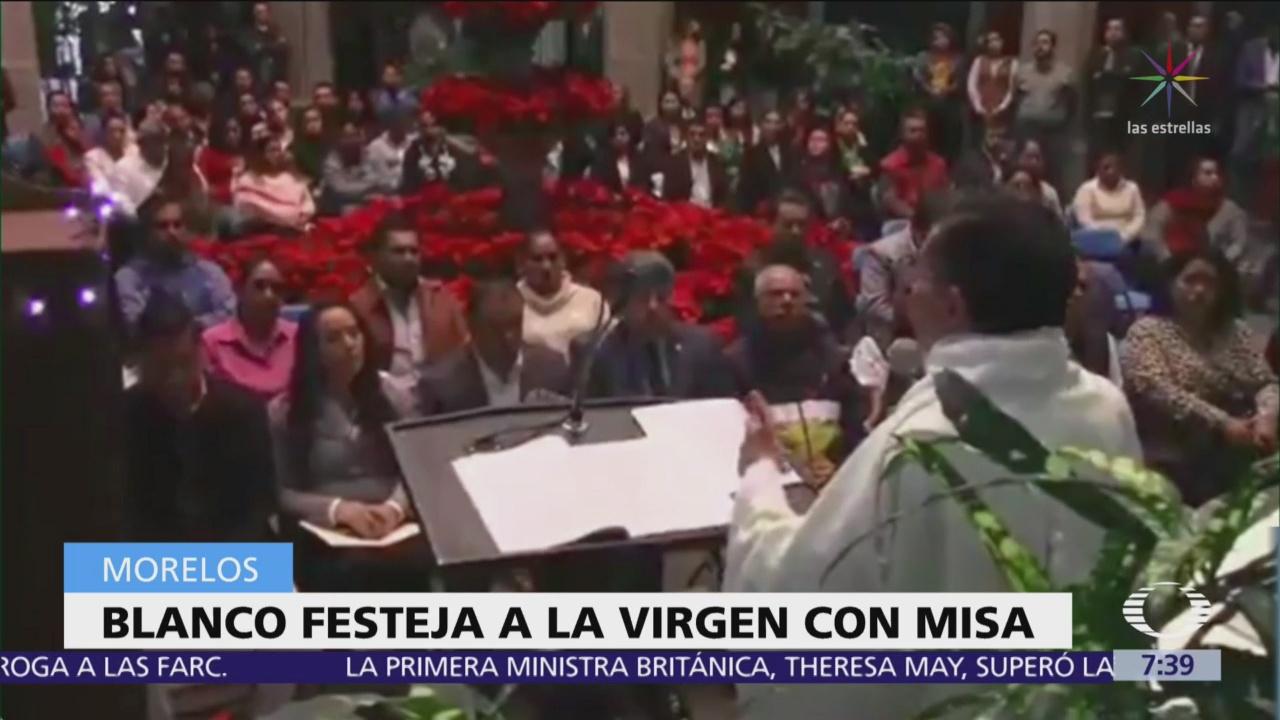 Cuauhtémoc Blanco celebra a Virgen de Guadalupe en Palacio de Gobierno
