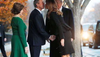 Trump visita a la familia Bush antes del funeral