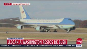 Los restos mortales del expresidente George H.W. llegan a Washington para funeral de Estado