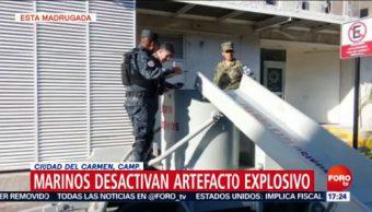 Marinos desactivan explosivo en Campeche